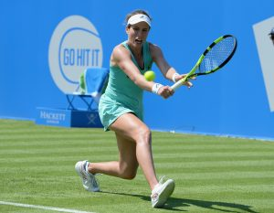 NOTTINGHAM, ENGLAND - JUNE 06: Johanna Konta of Great Britain in action in her first round match during WTA Aegon Open Nottingham - Day 1 at Nottinghan Tennis Centre on June 6, 2016 in Nottingham, England. (Photo by Tony Marshall/Getty Images)