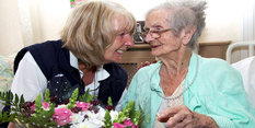 Flowers with her meal for 104-year-old Edna