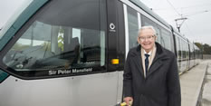 Sir Peter Mansfield Tram naming