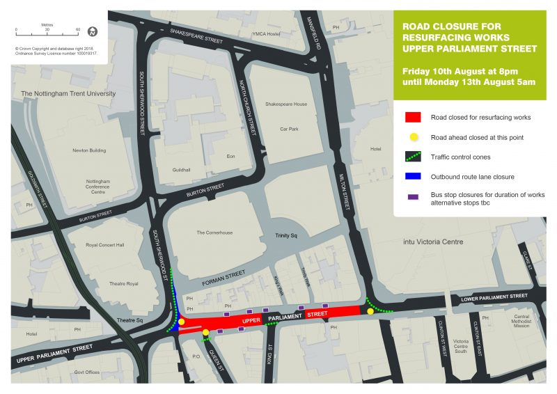 Bus services affected by resurfacing works on Upper Parliament Street