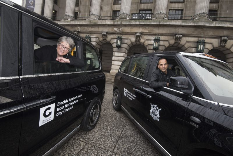 Cllr Sally Longford and ULEV taxi driver Amer Alam