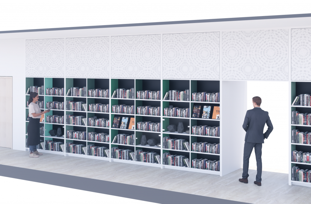 Proposed book wall, which will stretch across the ground floor