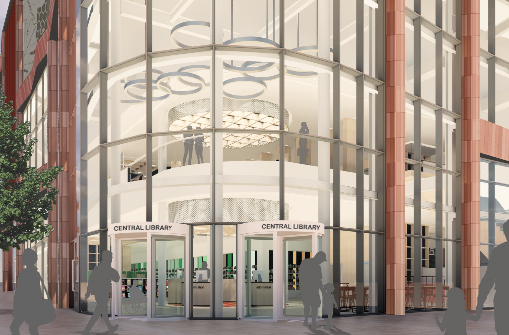 The new entrance from Collin Street of the new Central Library