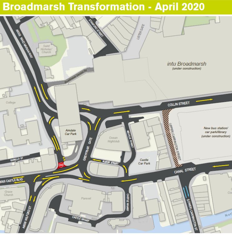 The closure of the Castle Boulevard-Maid Marian Way junction in April