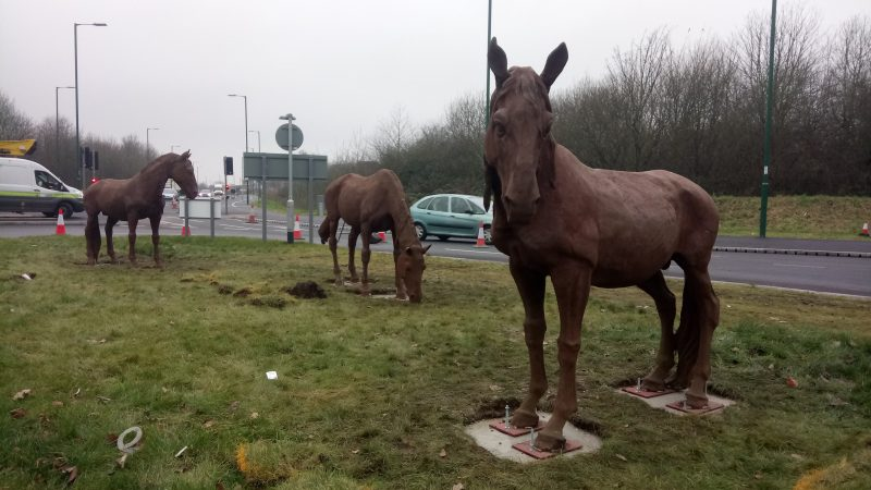 Horse sculptures mark work nearing completion in Daleside Road