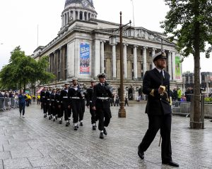 HMS Sherwood parade through Nottingham city streets