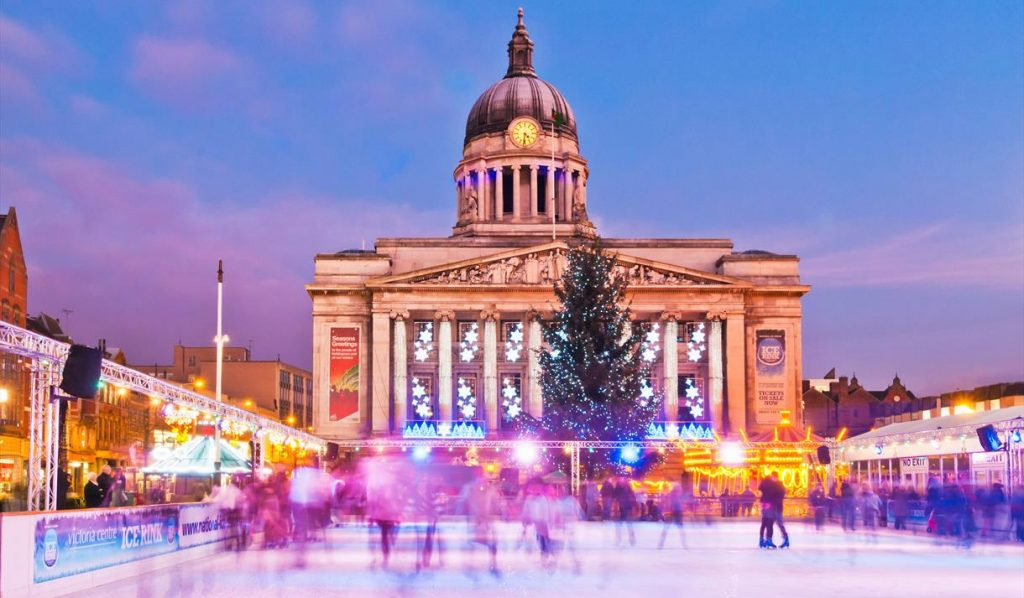 Image of Winter Wonderland, ice rink and Nottingham Council House
