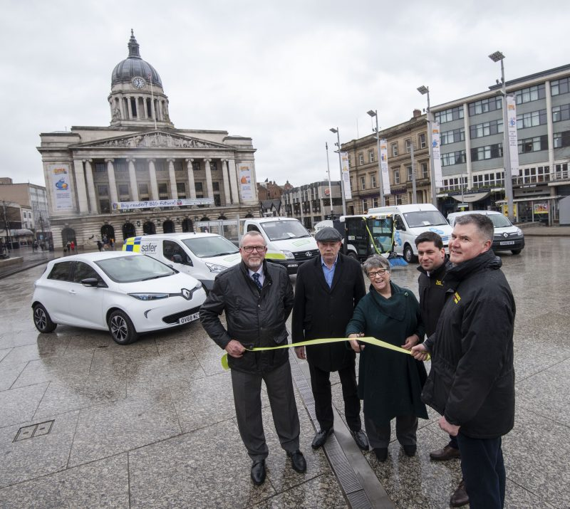 Cllr Sally Longford is joined by manufacturers to mark the introduction of the zero emission vehicles