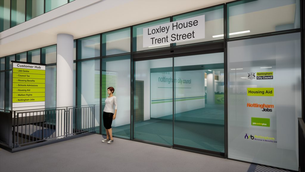 The new entrance to Loxley House from Trent Street