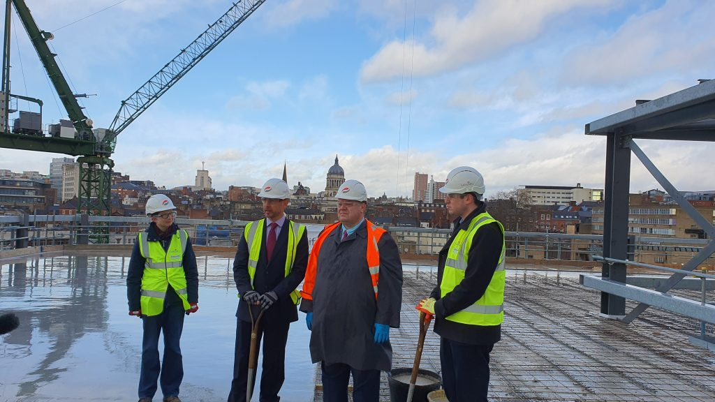 Councillor Roberts, Jon Marston of Galliford Try, Councillor Mellen and Tom Goshawk of D2N2 meet to top out the building