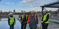 Councillor Roberts, Jon Marston of Galliford Try, Councillor Mellen and Tom Goshawk of D2N2 top out the new Broadmarsh Car Park