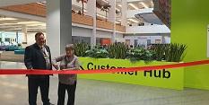 Concillor David Mellen and Councillor Sally Longford cut the ribbon for the new Customer Hub
