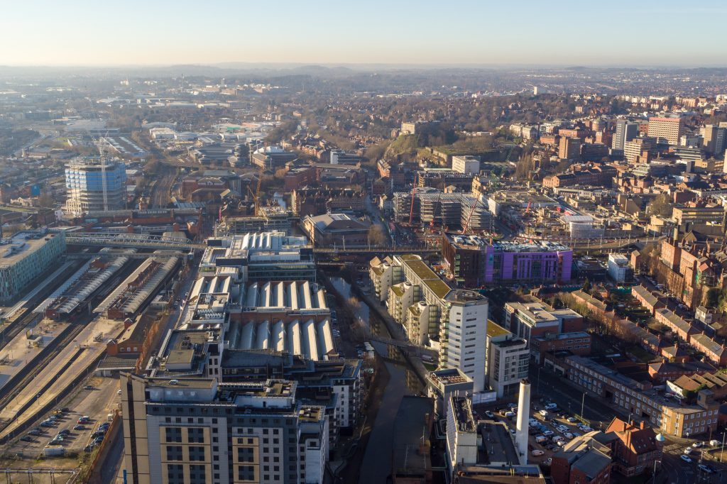 Nottingham's Southside area taken from the air