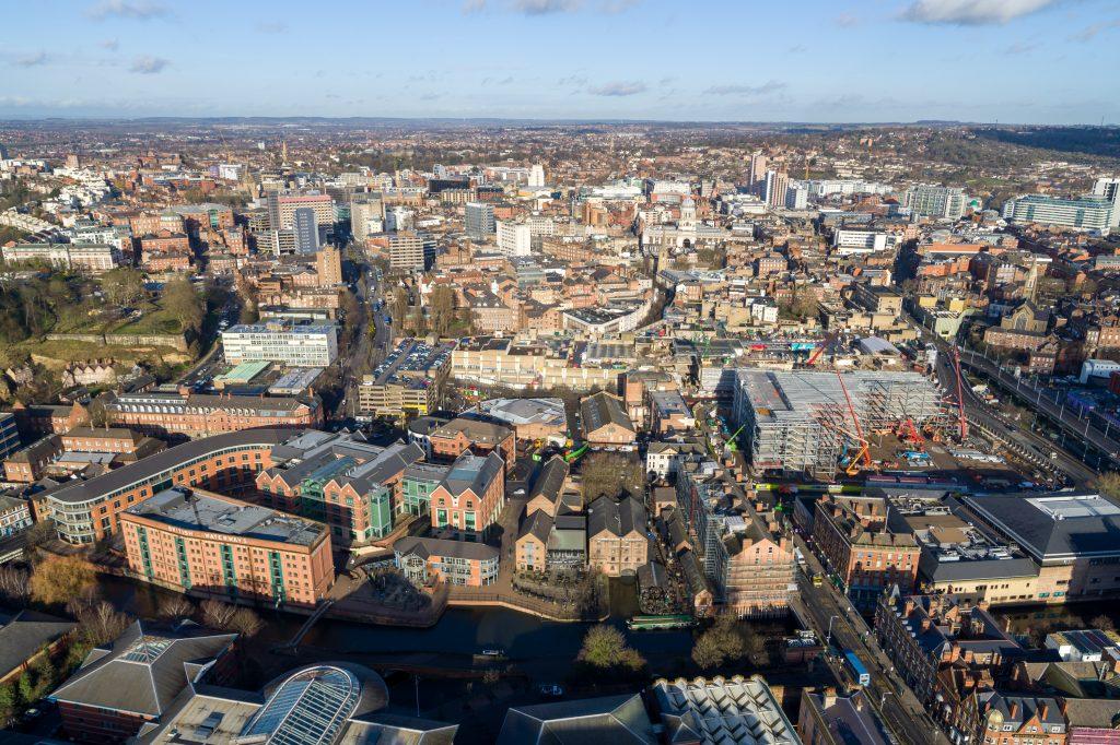 Nottingham's Broadmarsh area taken from the air