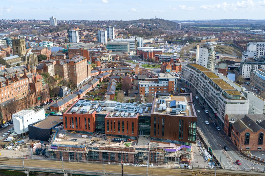 Nottingham College's City Hub development site taken from the air
