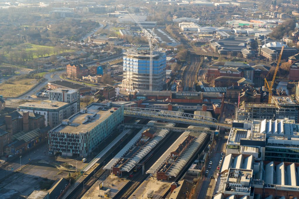 The Unity Square development and Nottingham Station from the air