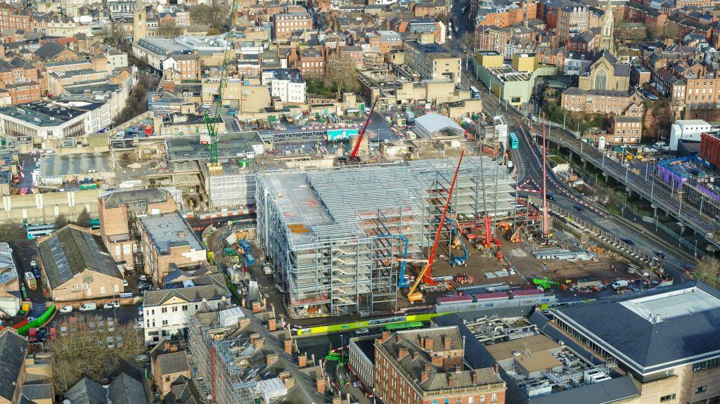 The new Broadmarsh Car Park development site taken from the air