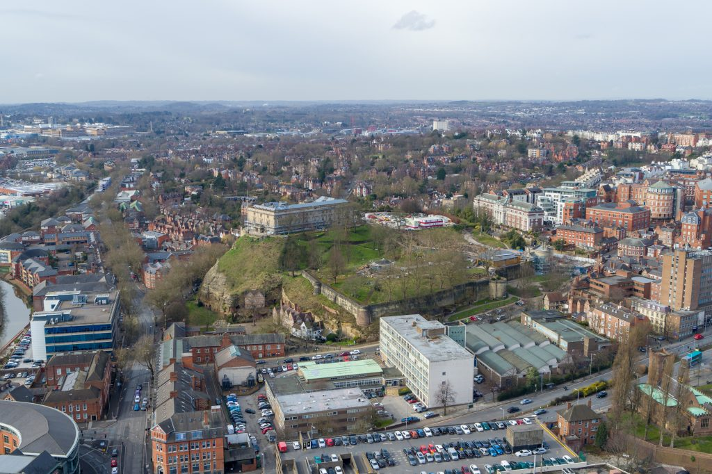 The Nottingham Castle development from the air