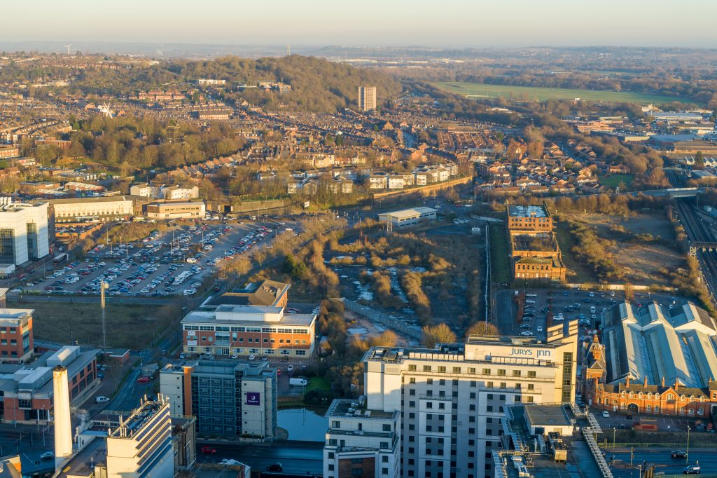 The Island Quarter development area from the air