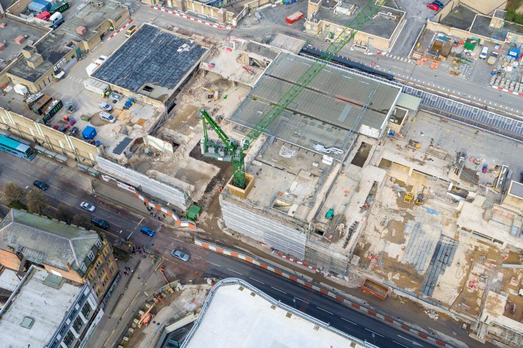 intu Broadmarsh development site taken from the air