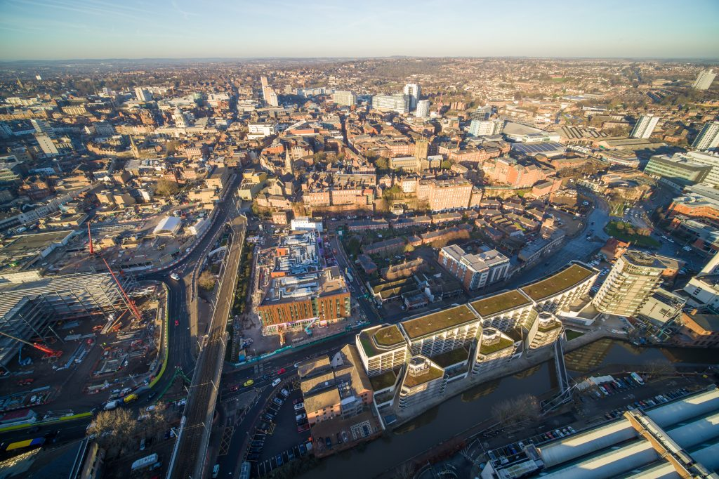 Nottingham College's City Hub development site and the historic Lace Market taken from the air
