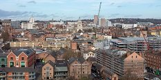 Nottingham City Centre from above