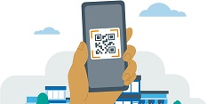 Clip art of a QR code on a smartphone
