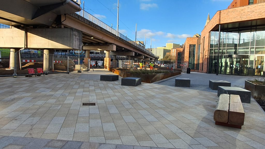 New public realm at Sussex Street at the entrance to the new Nottingham College City Hub