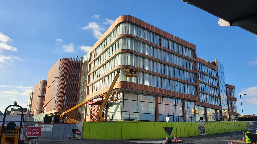 The new Broadmarsh Car Park building from Canal Street