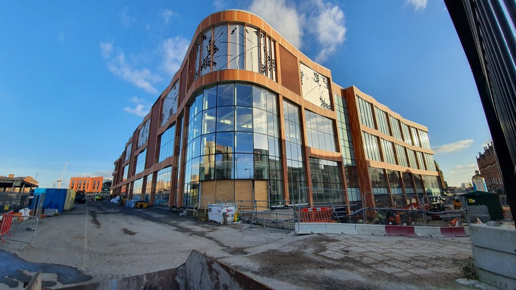 The new Broadmarsh Car Park building from Collin Street