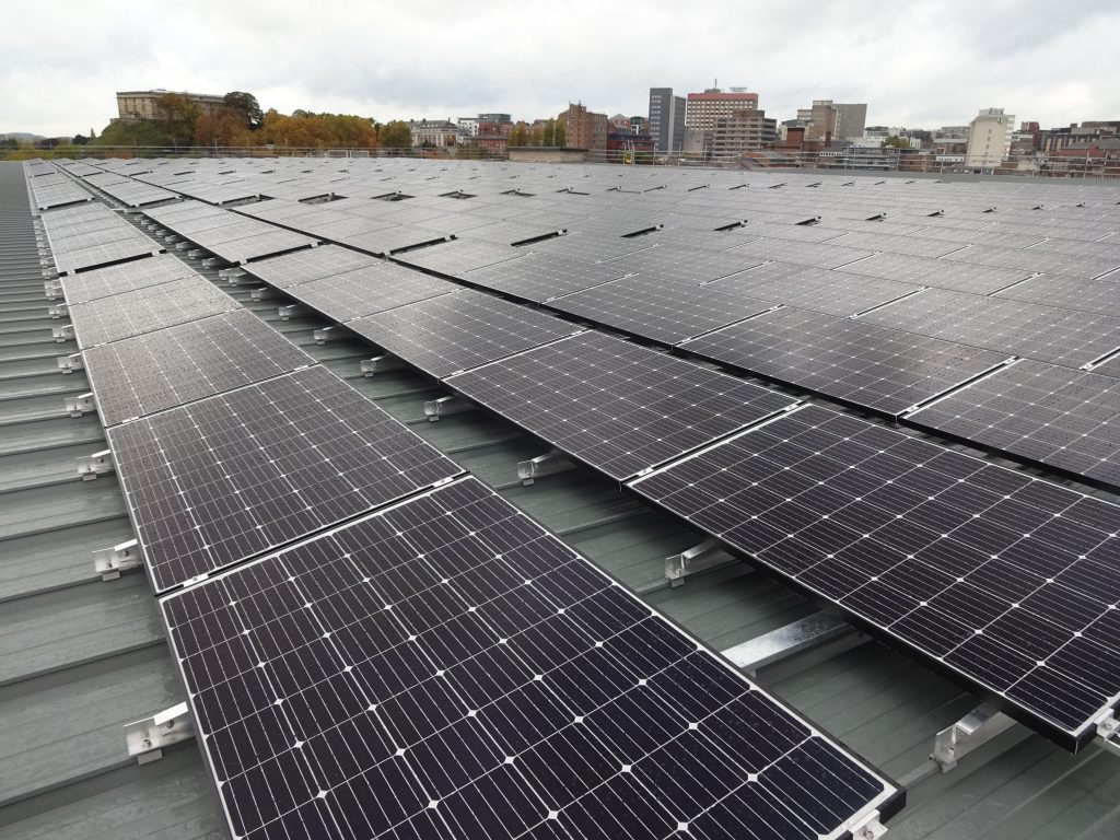 Photovoltaic panels on the roof of Broadmarsh Car Park