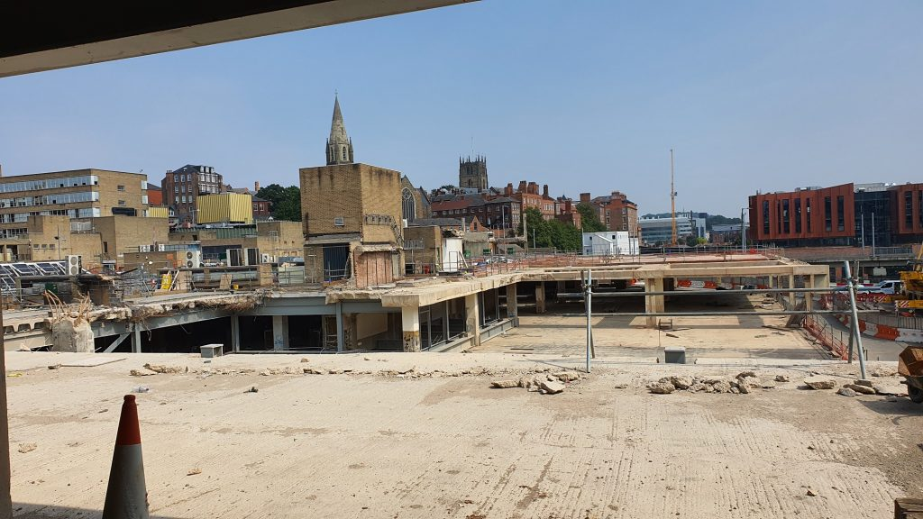 Former Broadmarsh Shopping Centre site looking towards St Mary's Church