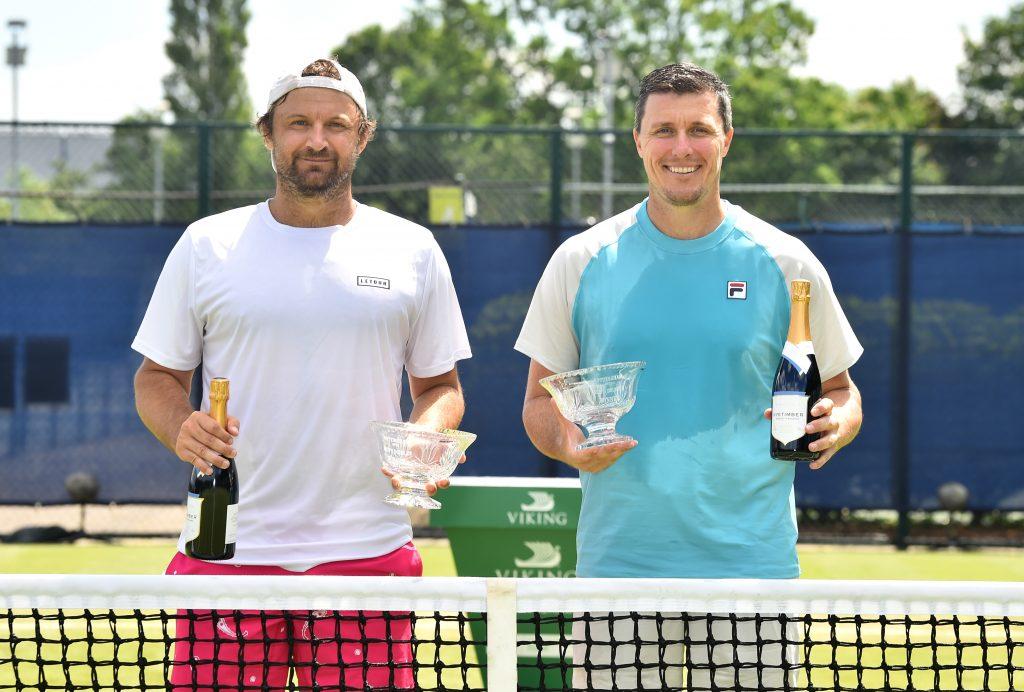 NOTTINGHAM, ENGLAND - JUNE 12:  Ken Skupski (Right) and Mat Reid: Winners of the Viking Open men's doubles on day eight at Nottingham Tennis Centre on June 12, 2021 in Nottingham, England.