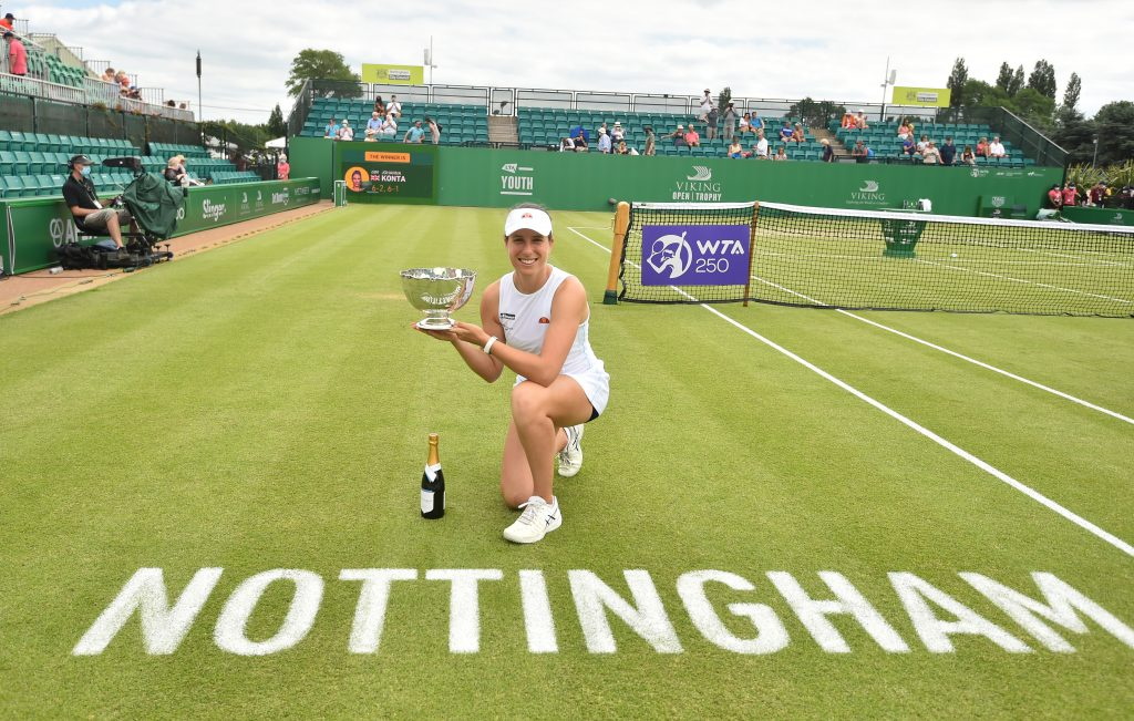 NOTTINGHAM, ENGLAND - JUNE 13: Johanna Konta of Great Britain holds the Viking Open Trophy after she beats Shuai Zhang of China at Nottingham Tennis Centre on June 13, 2021 in Nottingham, England. (Photo by Nathan Stirk/Getty Images for LTA)