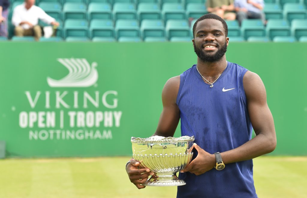NOTTINGHAM, ENGLAND - JUNE 13: Frances Tiafoe of United States holds the Mens Singles Vikings Open Trophy after he beats Denis Kudla of United States at Nottingham Tennis Centre on June 13, 2021 in Nottingham, England. (Photo by Nathan Stirk/Getty Images for LTA)